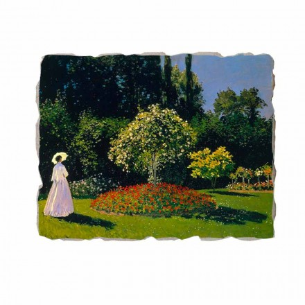 Mulher no jardim por Claude Monet, afresco pintado à mão
