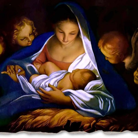 """Fresco artesanal na Itália Carlo Maratta """"Natividade"""" em 1650"""