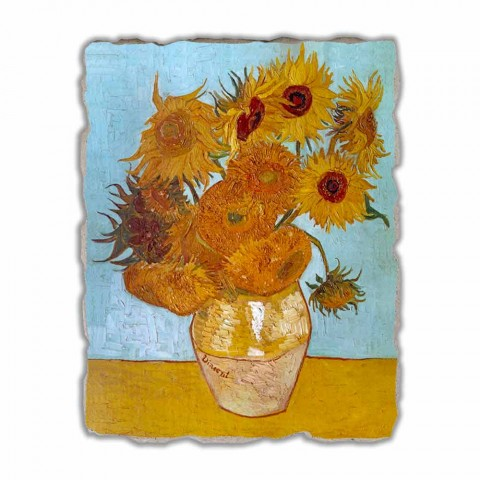 "grande afresco artesanal Vincent Van Gogh ""vaso de girassóis"""