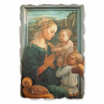 Madonna com criança por Lippi, afresco pintado à mão, tamanho grande