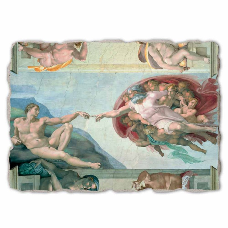 """grande afresco da """"Criação de Adão"""" de Michelangelo, feito à mão"""