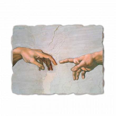 A criação de Adam por Michelangelo, pintado à mão (detalhe)