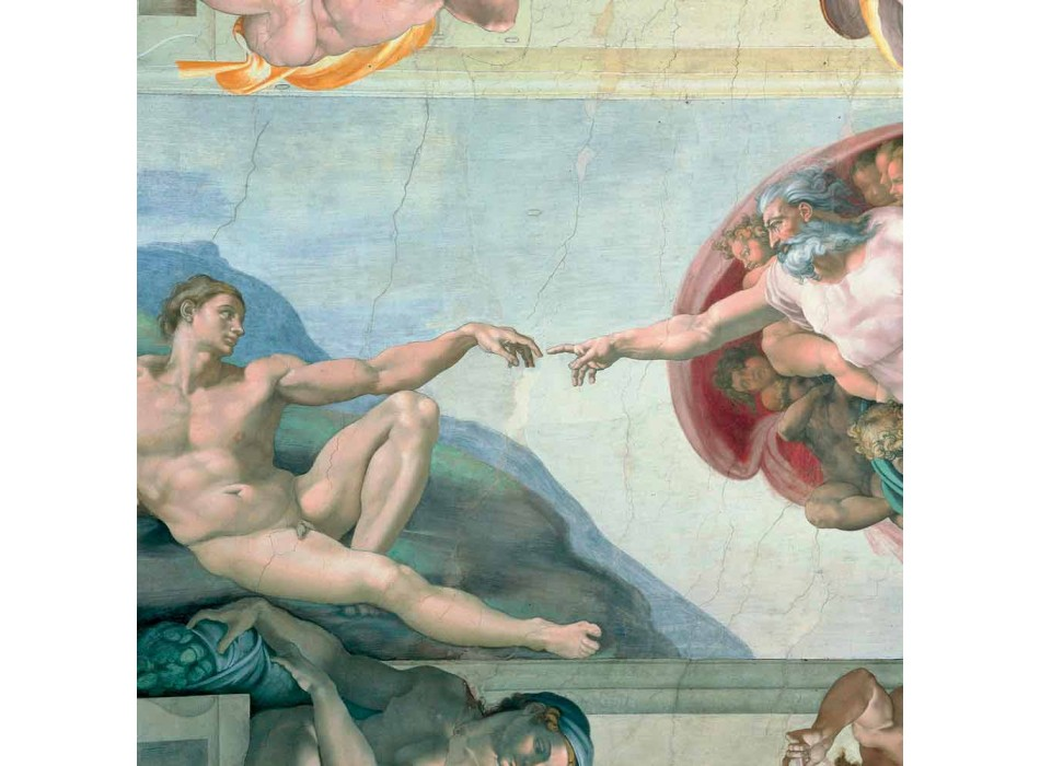 """O afresco de Michelangelo """"A Criação de Adão"""", feito à mão"""