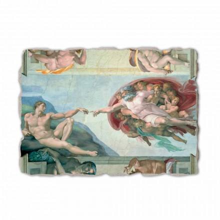 A criação de Adam por Michelangelo, afresco pintado à mão