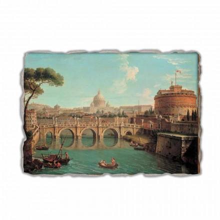 Roma, uma vista do Tibre com o Castel Sant'Angelo e a Basílica de São Pedro e o Vaticano além