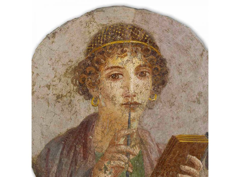 """Reprodução de afresco feita na Itália Arte Romana """"O Poeta"""""""