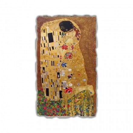 O beijo de Gustav Klimt, afresco pintado à mão