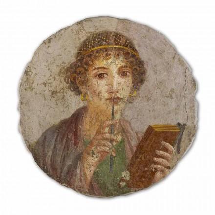 A Poeta, arte romana, afresco pintado à mão, tamanho grande
