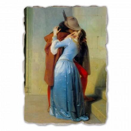 O beijo de Francesco Hayez, afresco pintado à mão, tamanho grande