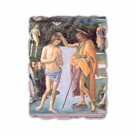 Baptismo de Cristo (detalhe) por Perugino, afresco pintado à mão