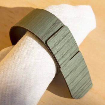 Anel de guardanapo em madeira e tecido fabricado na Itália - Abraham