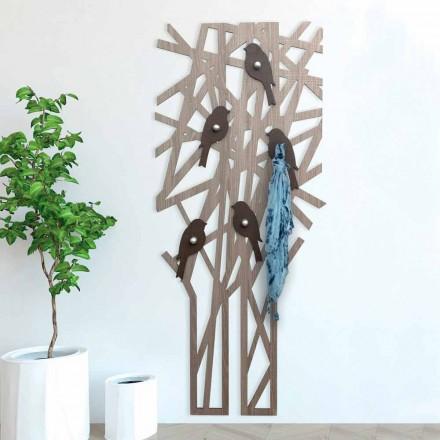 Cabide de parede em madeira colorida com um design moderno - Alberuccell