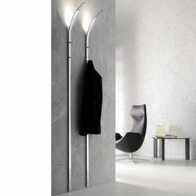 Cabide de metal para revestimento de parede com 2 ganchos e luz LED Made in Italy - Osmio