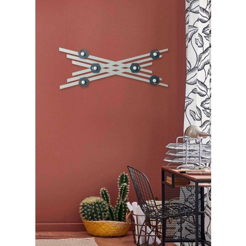 Cabide de parede de design moderno em madeira lacada colorida - Picassino