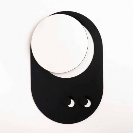 Cabide de parede moderno em aço com espelho Made in Italy - Pilippo