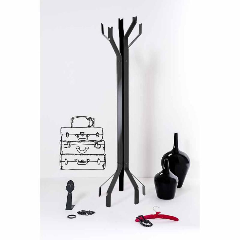 Suporte de chão preto com 5 ganchos Andrea, design moderno