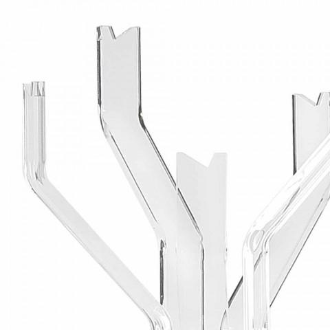 Cabide de terra transparente com 5 ganchos Andrea, design moderno