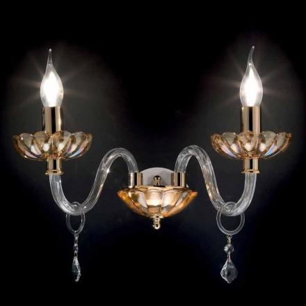Design clássico 2 luzes de parede arandela Belle, feito de vidro e cristal