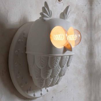Arandela de parede 2 luzes em cerâmica branca mate Coruja de design moderno - coruja