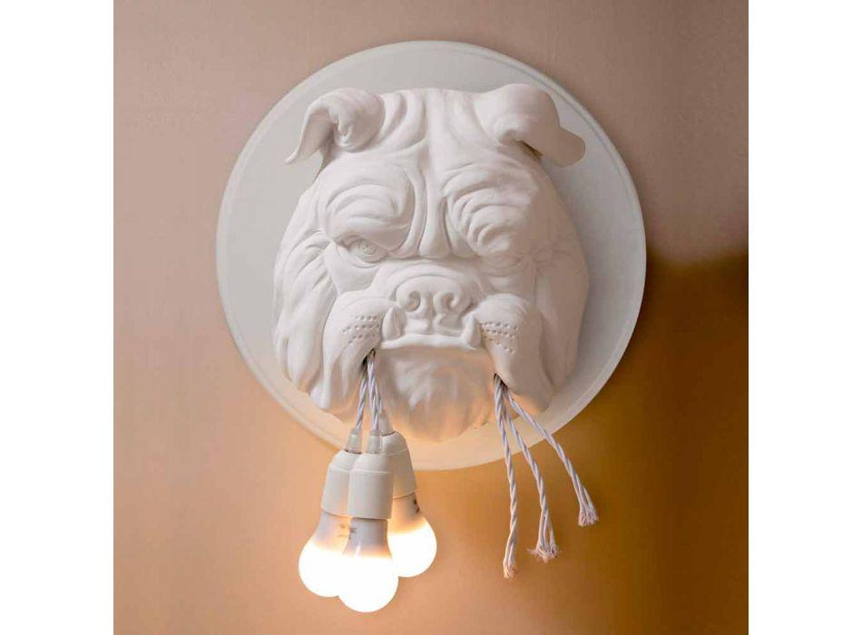 Arandela de parede com 3 luzes em cerâmica cinza ou branca design moderno - Dogbull