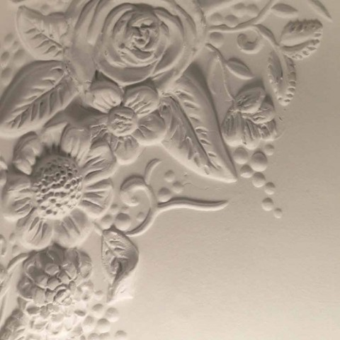Apliques de Parede em Cerâmica Branca Mate com Flores Decorativas - Fluxo