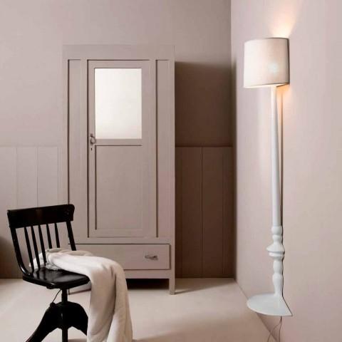 Apliques de Parede Alta em Cerâmica Branca e Abajur em Design de Linho - Cadabra
