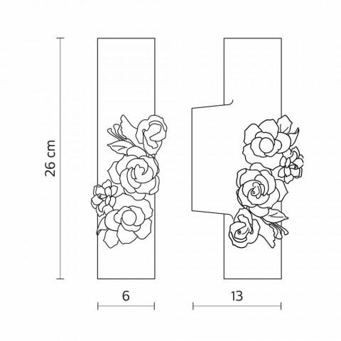 Arandela de parede em cerâmica Matt White com flores decorativas - Revolution