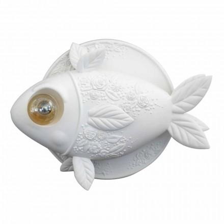 Arandela de Parede em Design de Cerâmica Branco Mate com Peixe Decorado - Peixe