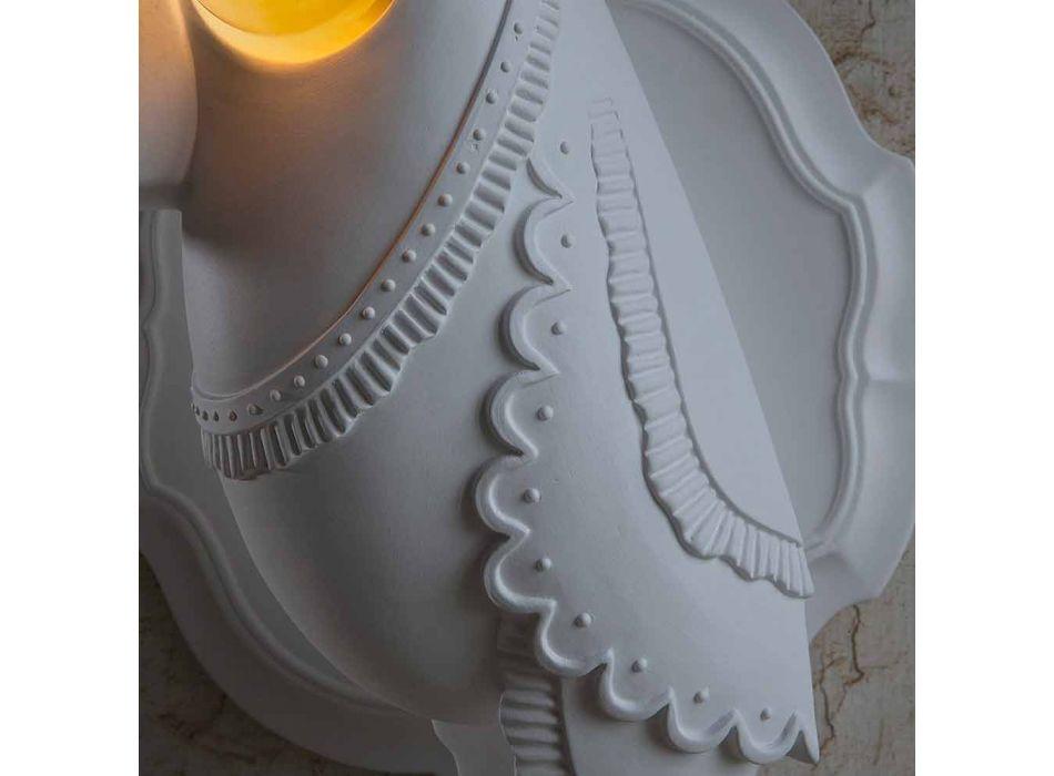 Aplique em Cerâmica Branca Matt Design Italiano Moderno - Tucano