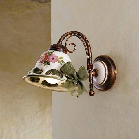 Arandela de cerâmica decorada rústica Ferroluce Napoli