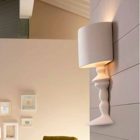 Aplique em Cerâmica Pintável com Abajur de Design Moderno - Cadabra
