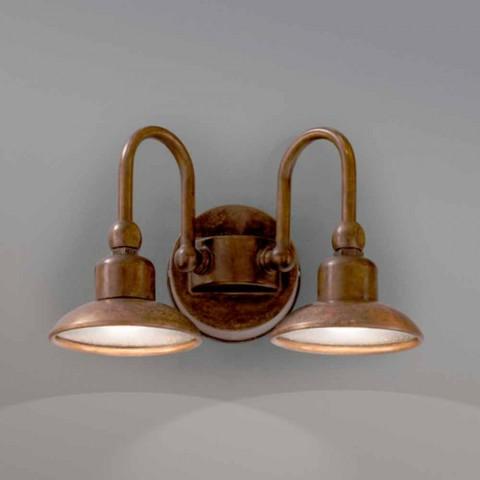 Luz externa com 2 luzes em latão e cobre Bugatti