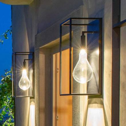 Candeeiro de parede de ferro para exterior com luz LED quente e vidro fabricado na Itália - Falda
