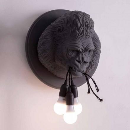 Candeeiro de parede com 3 luzes em Gorilla Ceramic Gray ou White Design - Rillago