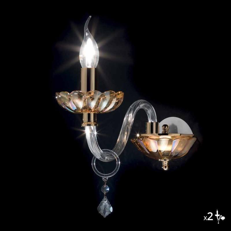 Aplique de vidro clássico em cristal e vidro Belle, 2 peças