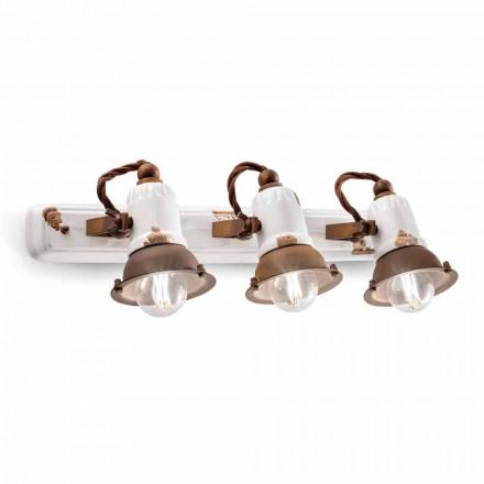 Lâmpada de parede design com três focos ajustáveis em cerâmica e metal Lacey