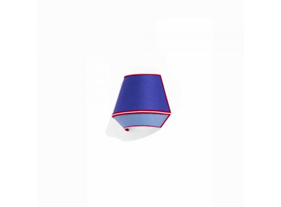 Apliques de Design em Algodão Azul com Detalhes Vermelhos e Brancos Made in Italy - Soya