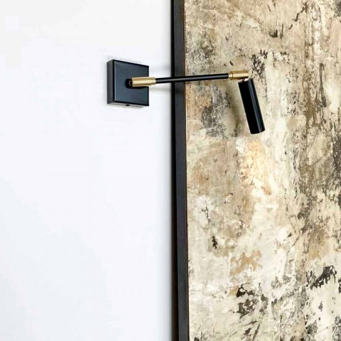Apliques feitos à mão em ferro e alumínio preto fosco Made in Italy - Velina