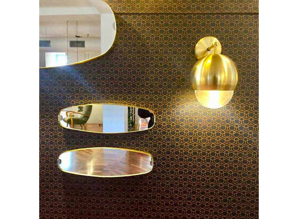 Aplique em latão escovado e vidro feito à mão na Itália - Gandia