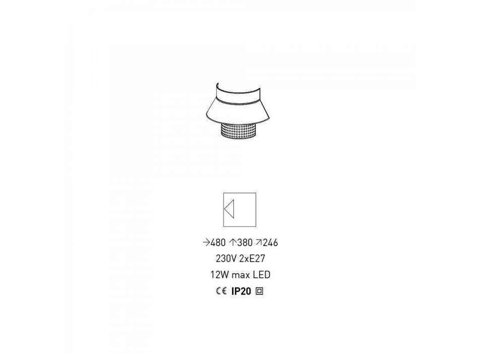 Apliques em Tecido Branco e Cinza e Design em Rattan Made in Italy - Sailor