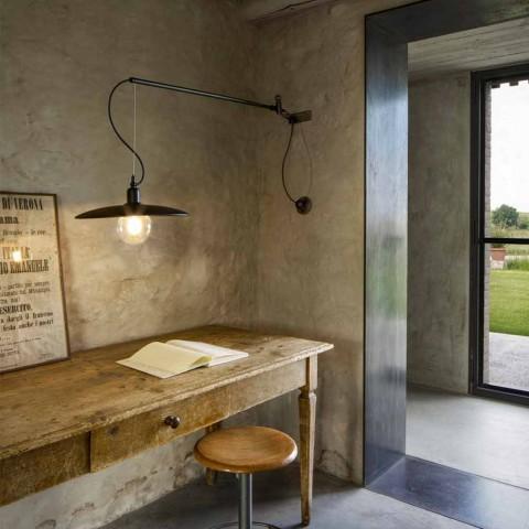 Aplique de latão vintage com braço móvel - Meridiana Aldo Bernardi