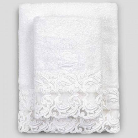 Toalhas de algodão turco branco com renda, 2 peças de luxo italiano - Sposi