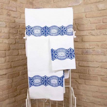 Toalha artesanal italiana com impressão artesanal em algodão - Viadurini by Marchi