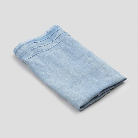 Toalha de rosto azul de linho pesado de design italiano luxuoso - Jojoba