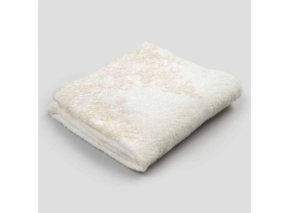 Toalha de rosto de algodão turco com borda de mistura de renda e linho - Ginova