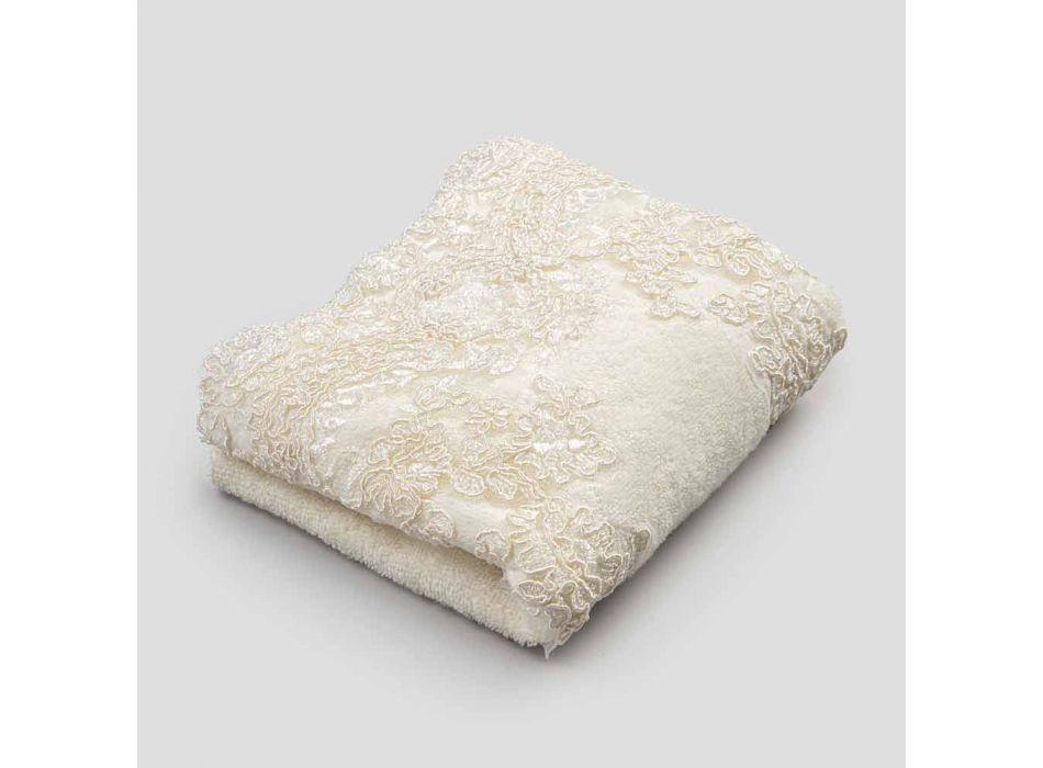 Toalha de banho em algodão turco e linho mesclado de borda com renda - Ginova