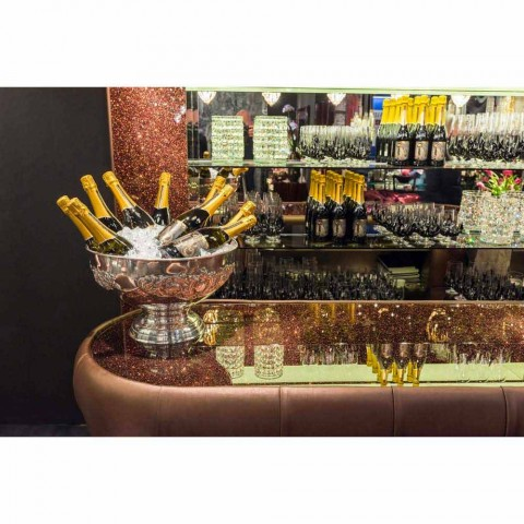 Balcão de bar com tampo de vidro brilhante feito na Itália, luxo - Calcutá