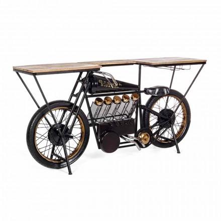 Barra de Console de Design Moderno em Madeira de Manga e Motocicleta de Aço - Chalota