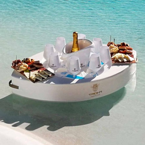 Barra flutuante feita com leahter falso marinho branco, Trona made in italy
