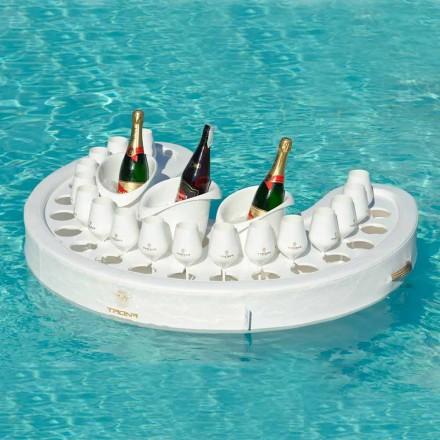 Bar da piscina flutuante branco, design moderno, feito na Itália por Trona